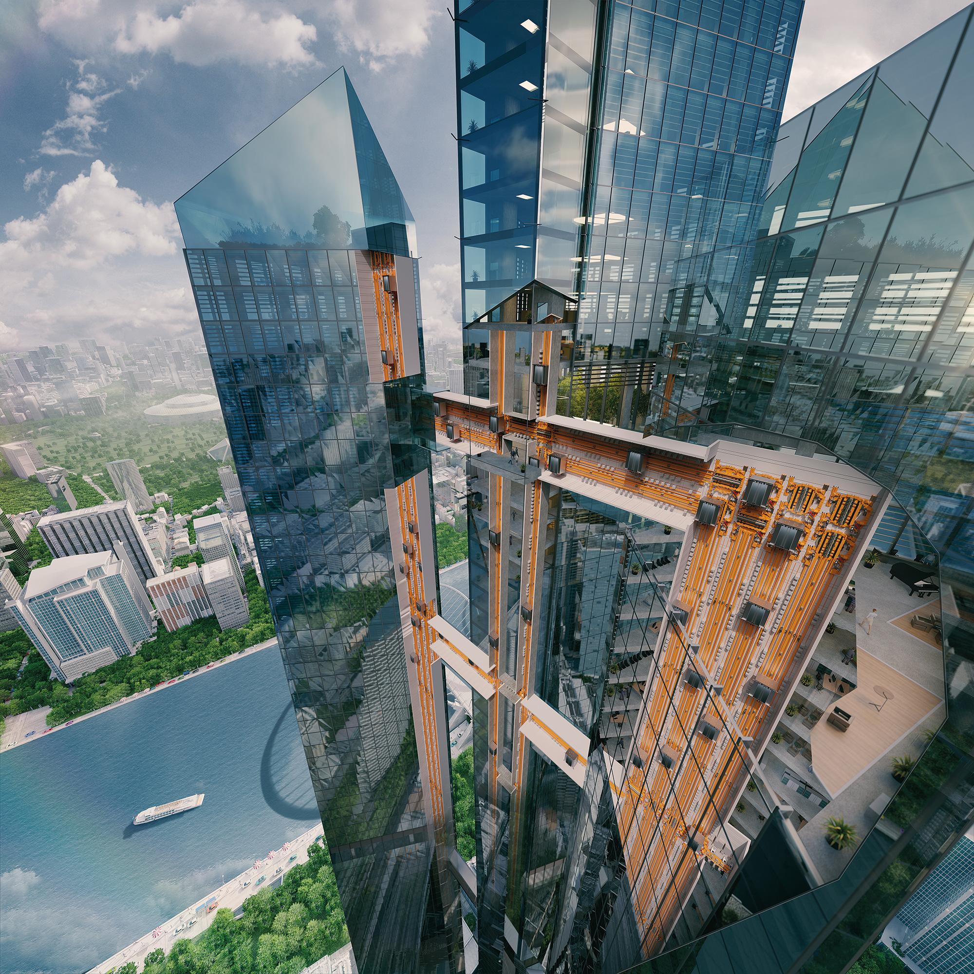 Das Wohnen in superhohen Gebäuden wird für die Stadt der Zukunft Realität. Wie werden wir uns dann fortbewegen?